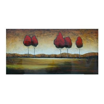 "Crestview Red Trees in the Distance Oil Painting - 30"" x 60"""