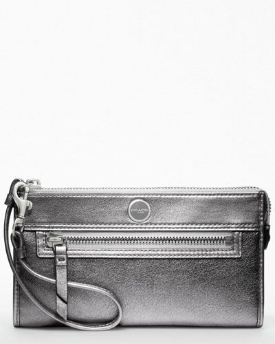 "Coach ""Poppy"" Anthracite Leather Zippy Wallet"