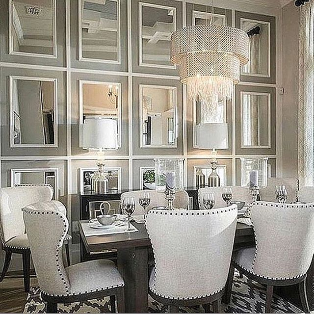 Pin By Marylou Sobel Interior Design On Decadent Dining Rooms Mirror Dining Room Luxury Dining Room Luxury Dining