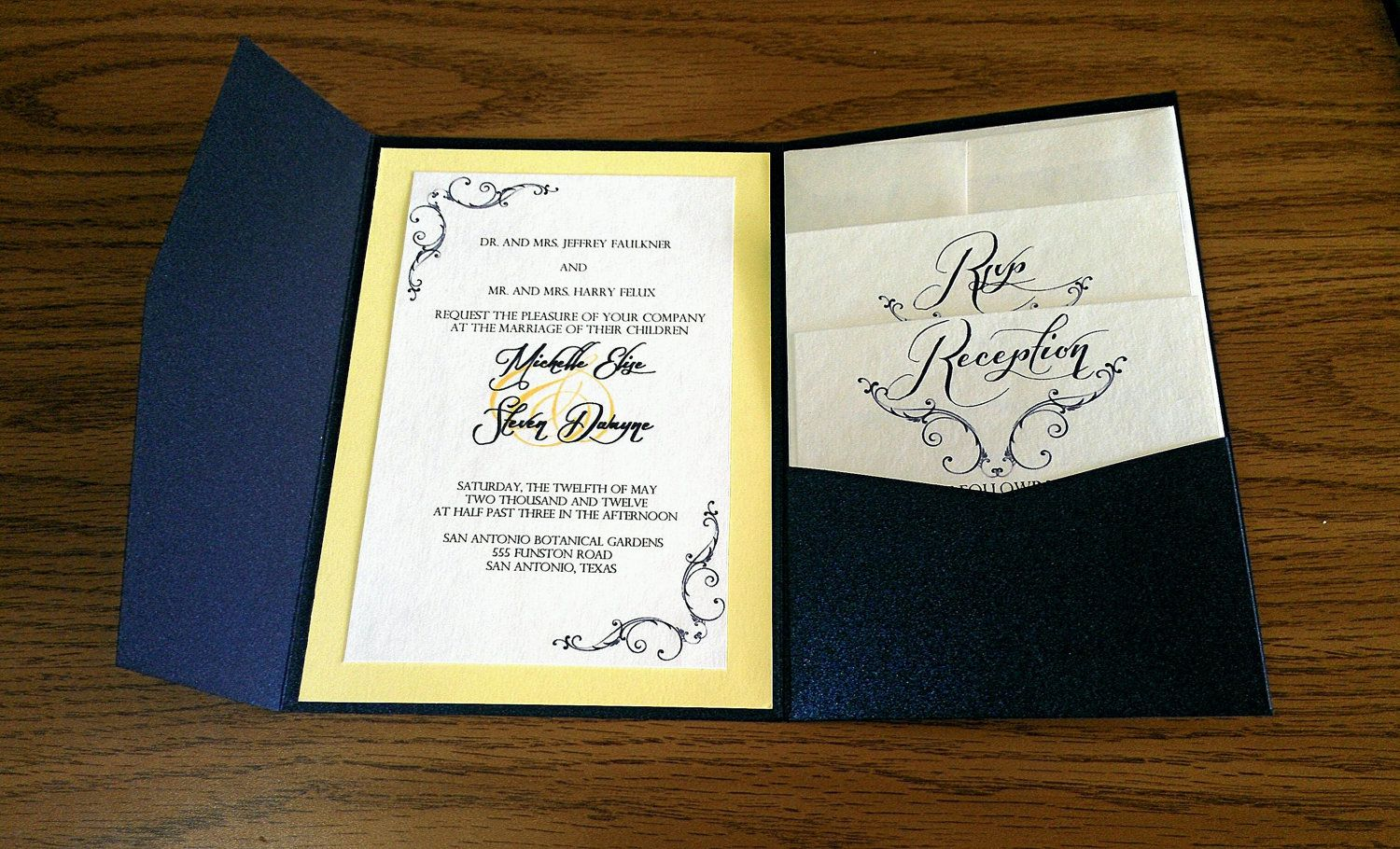 Navy Blue and Yellow Pocket Fold Wedding Invitation. $6.75, via ...