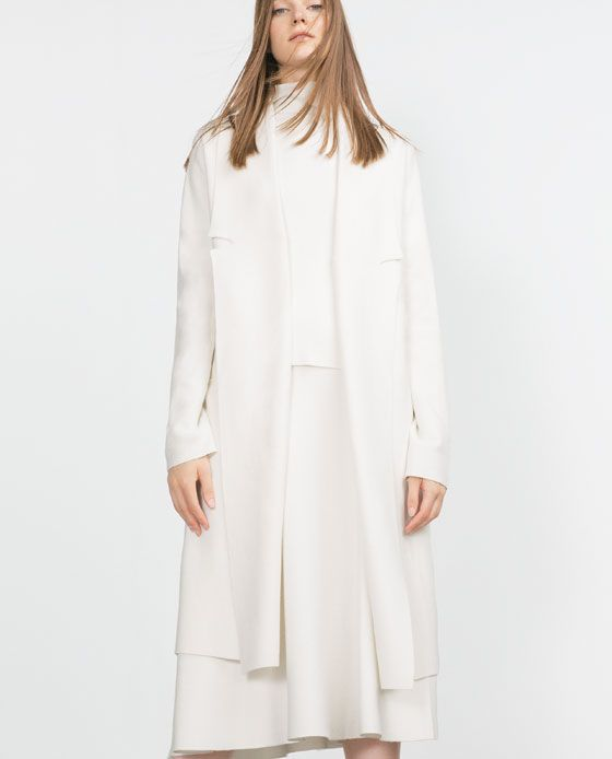 Image 2 of LONG COAT WITH DRAPED NECK from Zara | white and clear ...