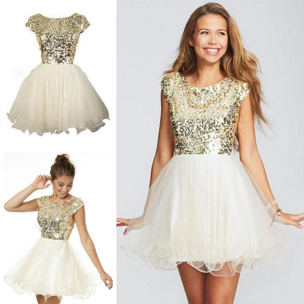 Sparkly sequins th grade graduation dresses champagne a line