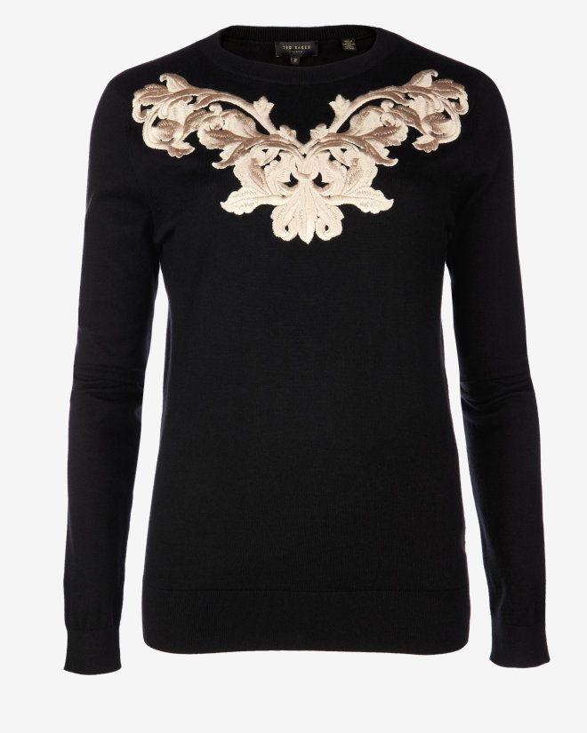 8c225ceccf8e3 Metallic embroidered jumper - Black