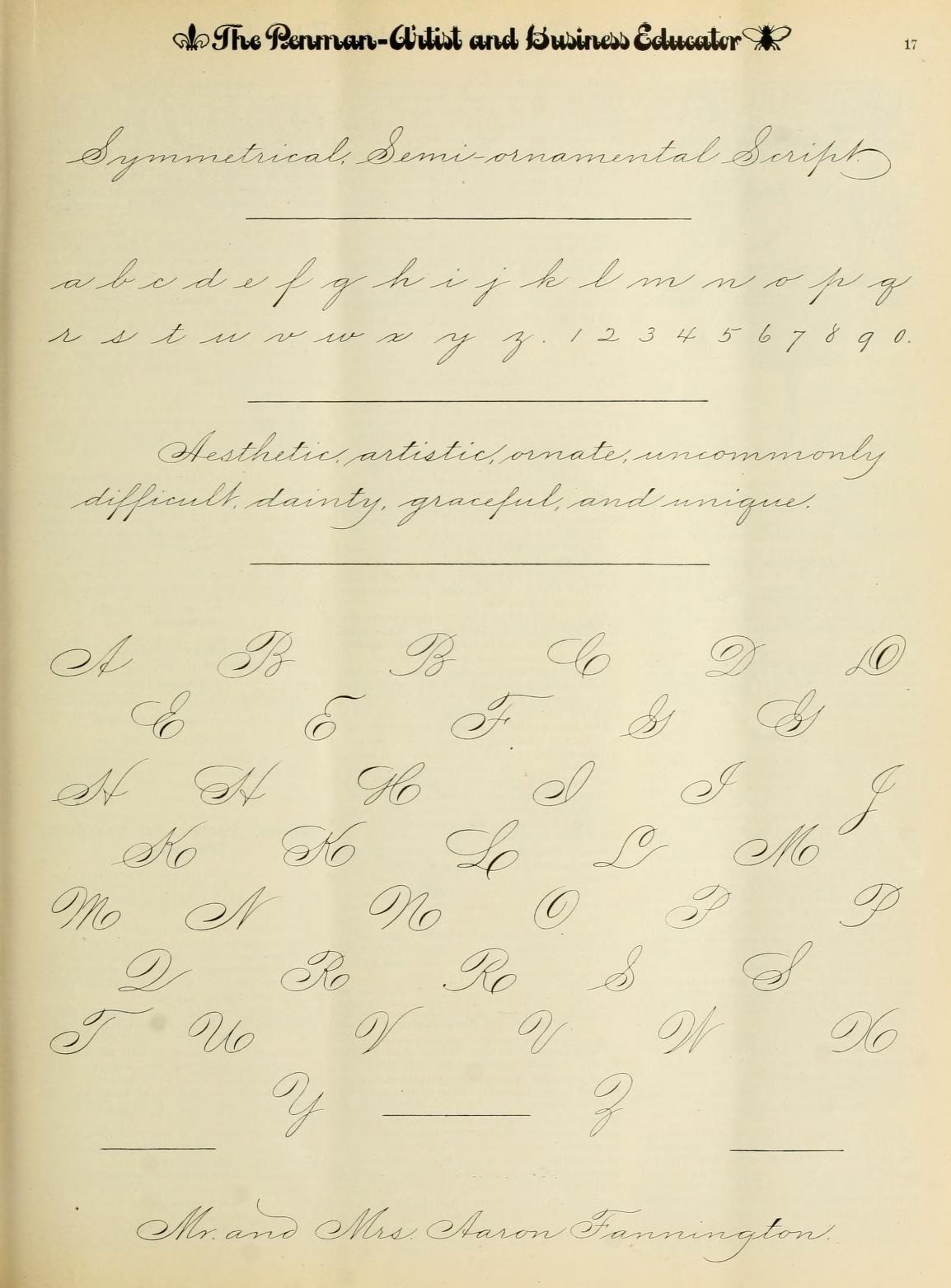Symmetrical Semi Ornamental Script Exemplar From The