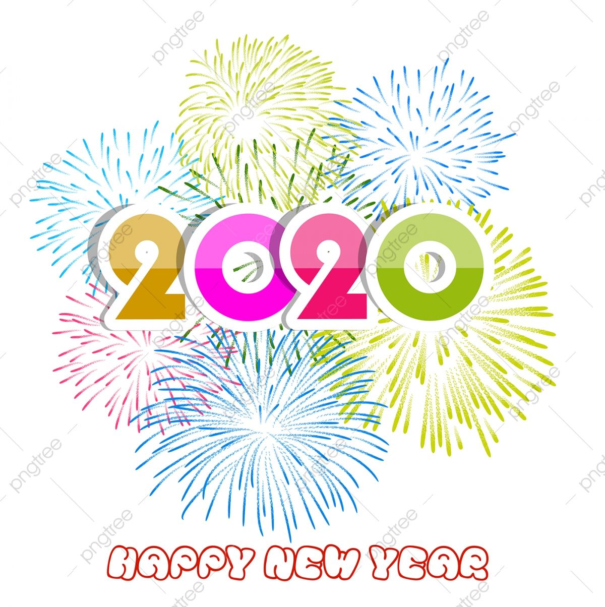 Happy New Year 2020 Background With Fireworks 2020 Abstract Celebrate Png And Vector With Transparent Backg In 2021 Happy New Year Text Happy New Year 2020 Clip Art