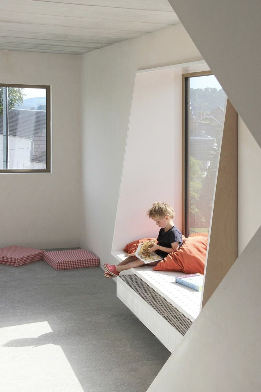 Window Ledge Seating use of deep window sill as seating, note shape of sides | home