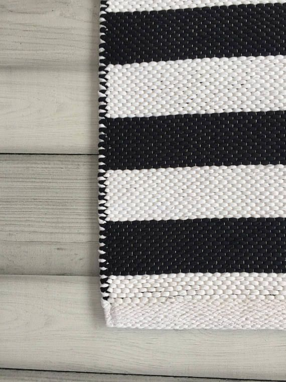 Black White Rugs Scandinavian Runner Woven
