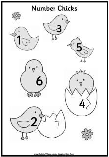 Number Chicks Number Matching File Folder Game from
