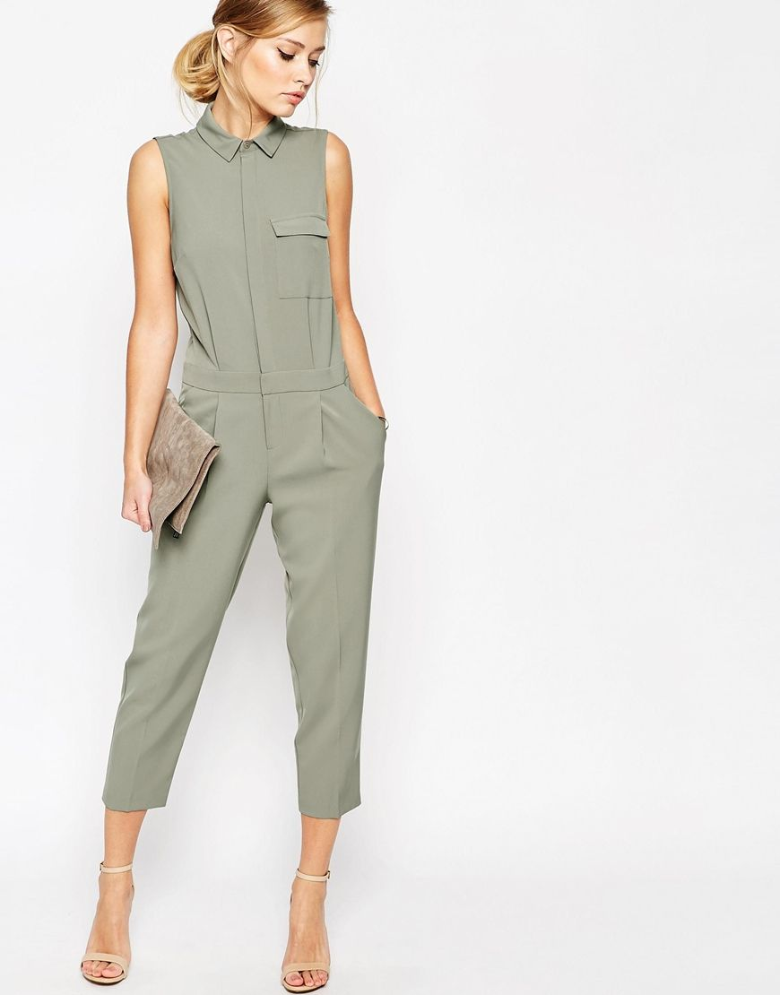 ASOS Sleeveless Shirt Detail Jumpsuit at asos.com. Fashion JumpsuitsWomens  ...