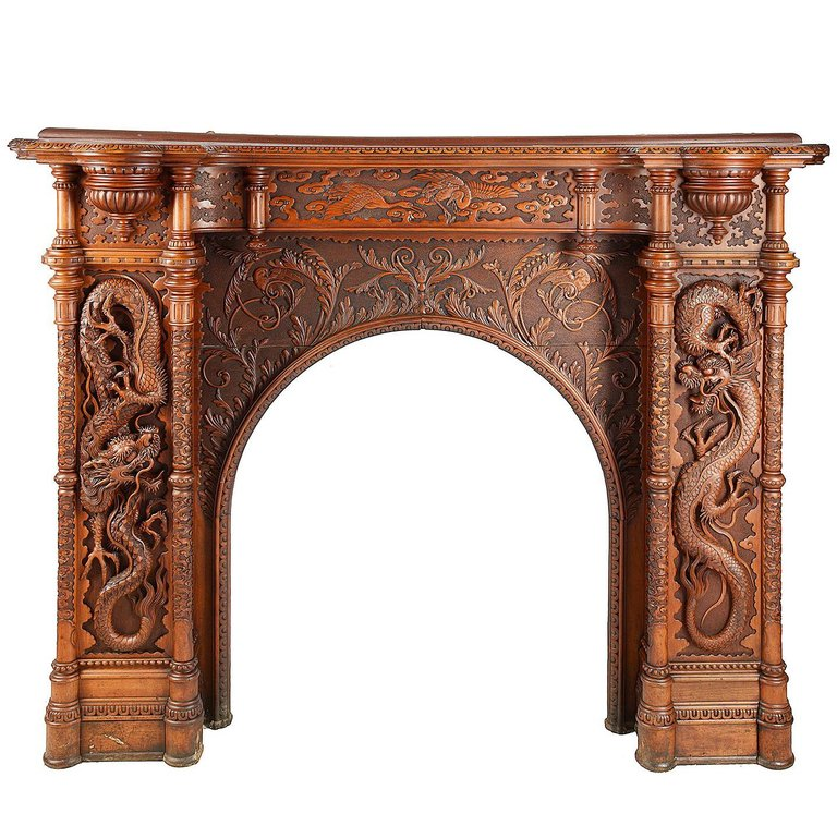 ~ Large Oriental Carvedwood Fireplace