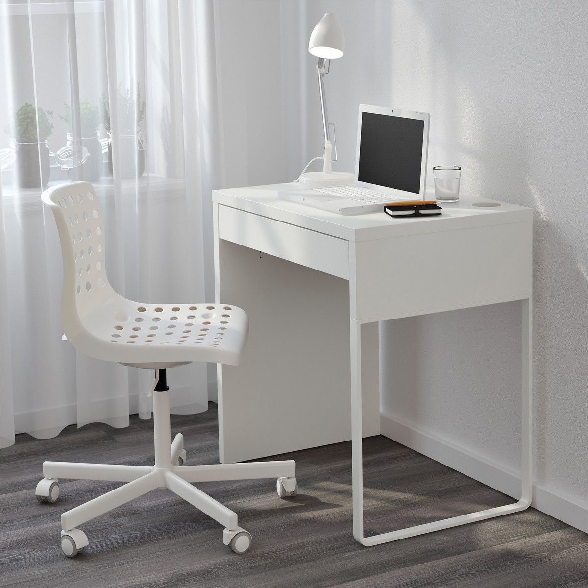 Narrow Computer Desk Ikea Micke White For Small Space Minimalist