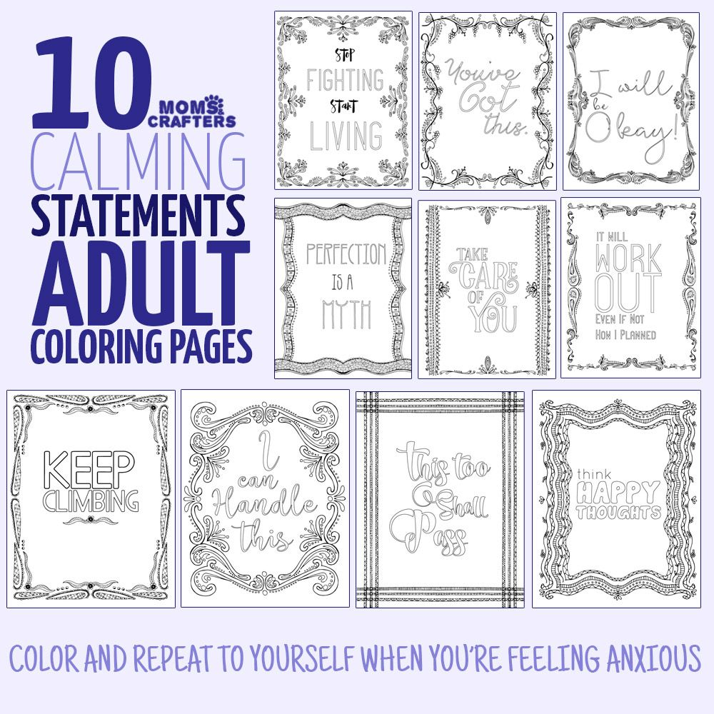 Coloring pages for teens with anxiety - Calm Yourself Through Coloring These Mindful Statements