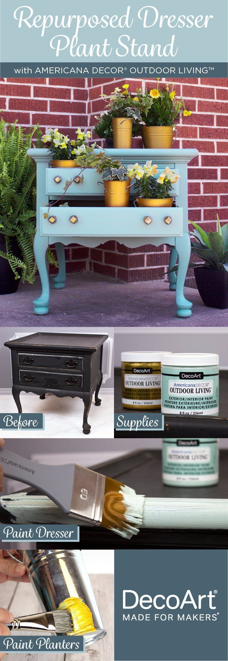 Repurpose an old dresser into the perfect plant stand with
