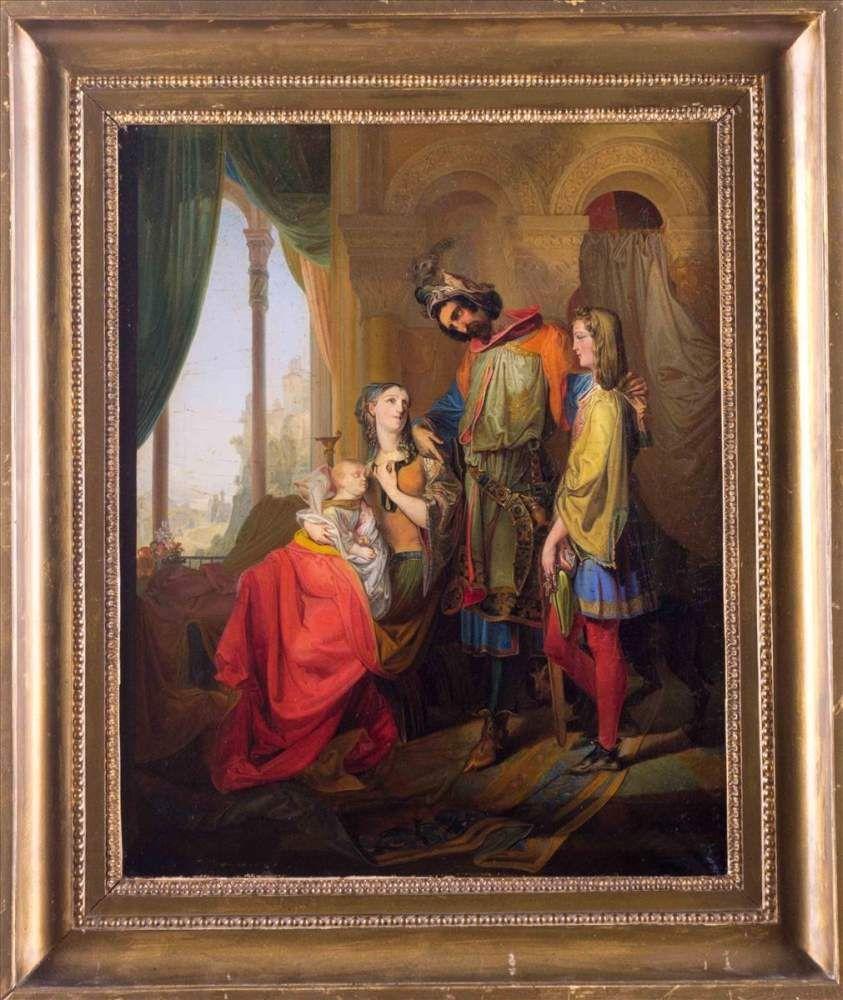 """Heinrich Jakob FRIED (1802-1870) """"Szene aus der Ballade Schillers vom Ritter Toggenburg"""" Gemälde"""