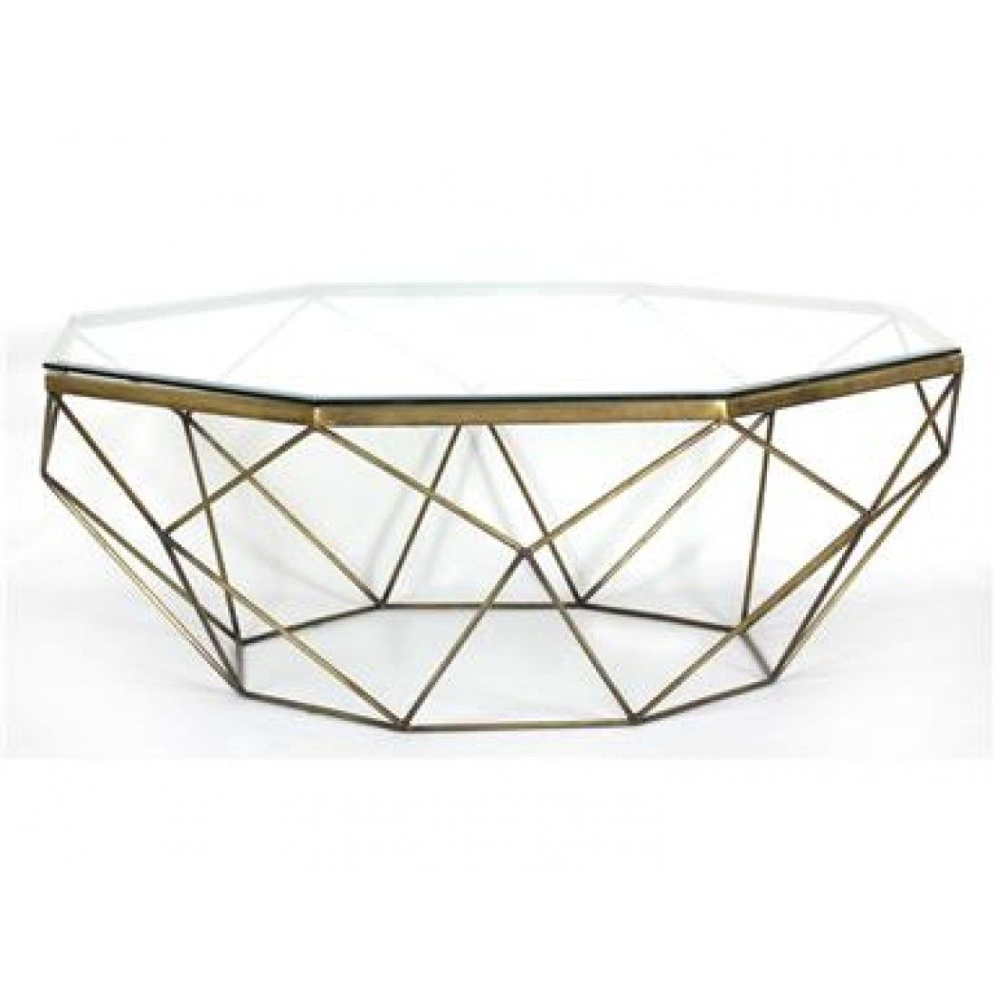 Marlow Geometric Coffee Table Antique Brass Geometric Coffee