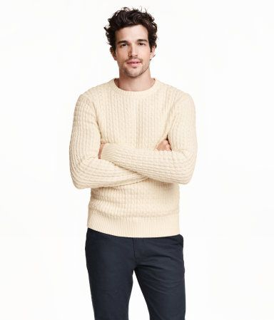 Classic round-neck sweater in textured-knit cotton fabric with long sleeves  and ribbing at cuffs and hem. Off-white.  d80882dcb02