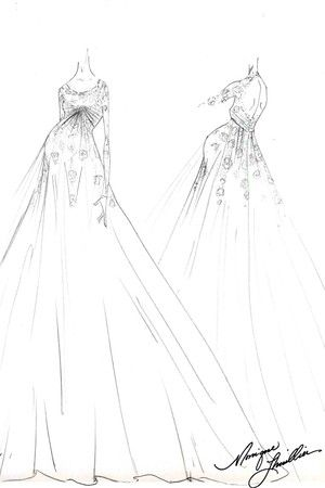A sketch of Ginny's wedding dress by Monique Lhuillier