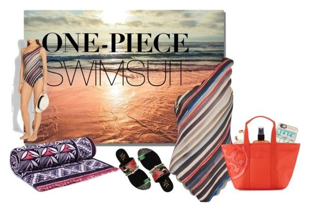 """""""Contest Entry: One Piece Swimsuit"""" by iwillmakeithappen ❤ liked on Polyvore featuring Tory Burch, Marysia Swim, Happy Plugs, Hawaiian Tropic, Casetify and onepieceswimsuit"""