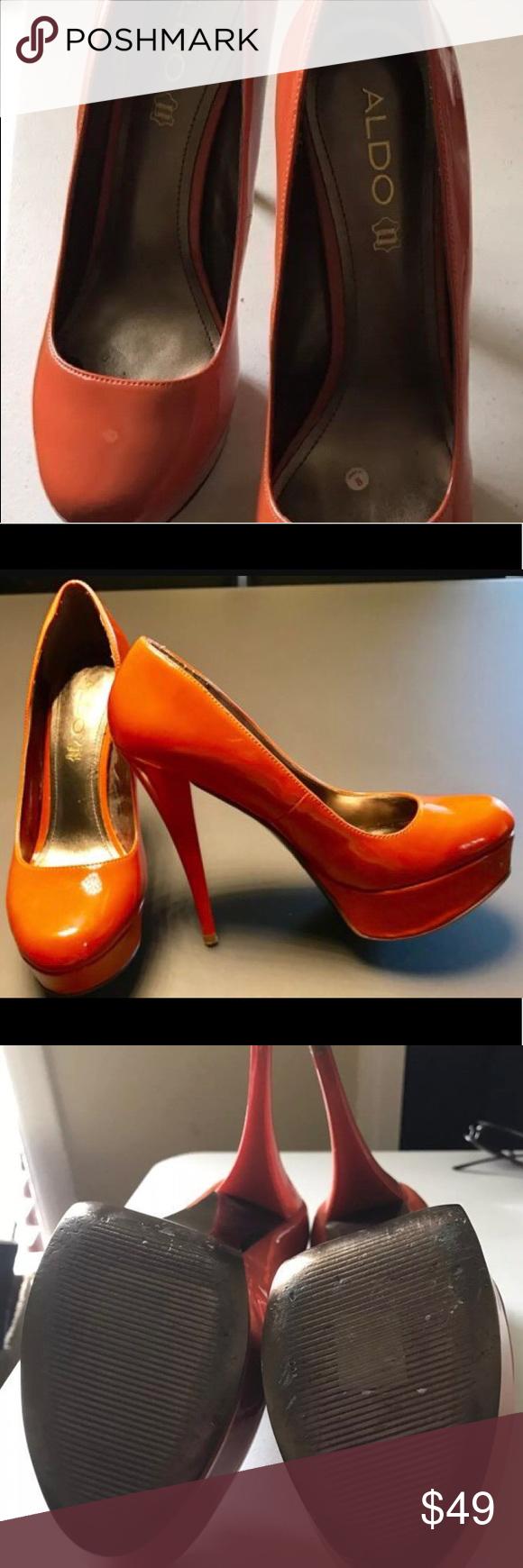 Aldo Stiletto True Orange Adlo Platforms Heels #Aldo True Orange #Patent #Leather  Platform
