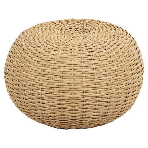 Wicker Patio Pouf Brown Threshold With Images Outdoor