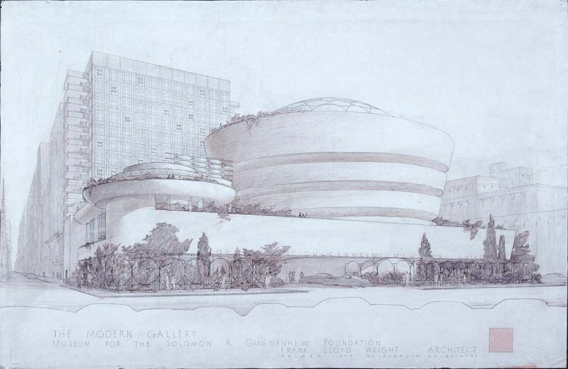 Frank Lloyd Wright concept drawing for The Modern Gallery Museum for the Solomon R. Guggenheim Foundation, New York City, 1943-59, ink and color pencil on trace paper