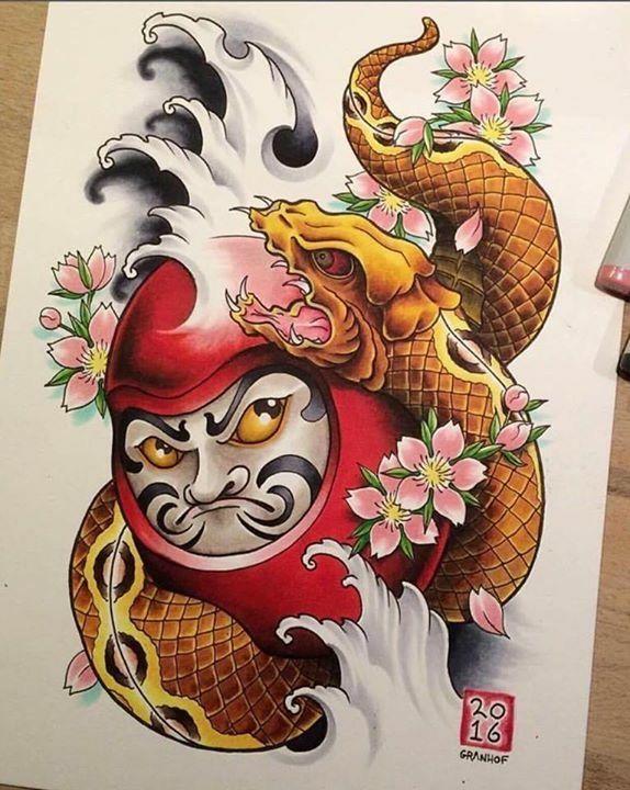 Dharma doll | ลายสักรูปสัตว์, รอยสักที่ขา, ลายสักญี่ปุ่น