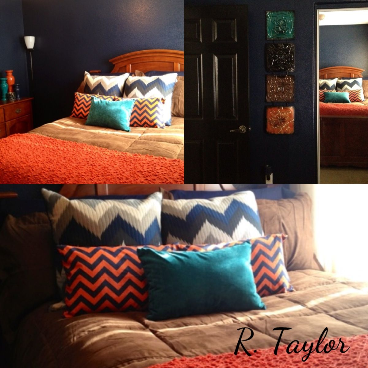 Bahr Orange Rooms With Navy Accent Wall: Navy, Teal And Orange Guest Room For My Chicago Visitors