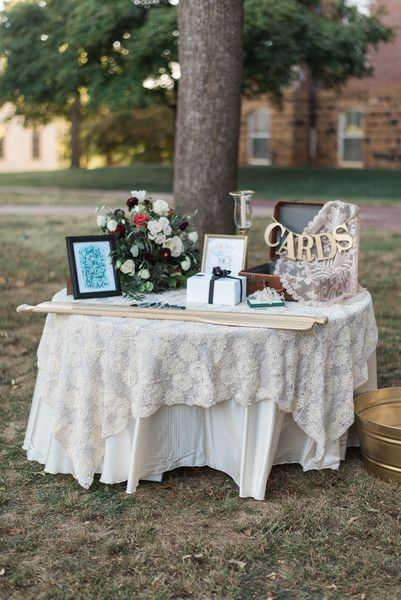 Vintage Gift Table Idea Lace Cloth Antique Trunk For Cards And Flower Arrangement B Matthews Creative