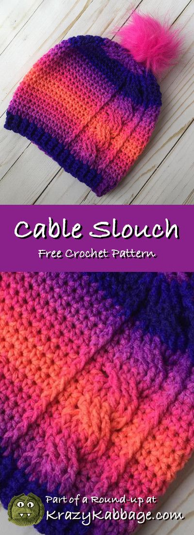 Slouch Hats Free Crochet Patterns - Krazy Kabbage #crochet #free #pattern #slouch #hat #beanie #fall #style #fashion #redheart #cable #stripe #crochethatpatterns