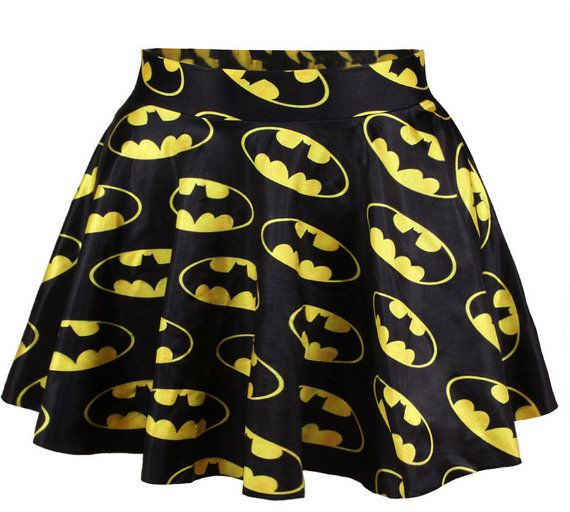 Batman Logo Comics Skirt Short Dress Black Gold Waist by EcoCorner