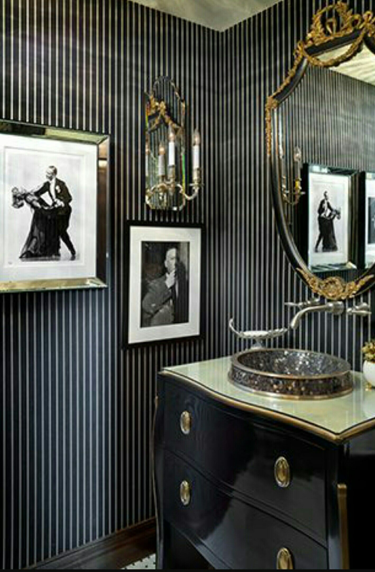 Black White And Gold Themed Powder Room Amazing Bathrooms