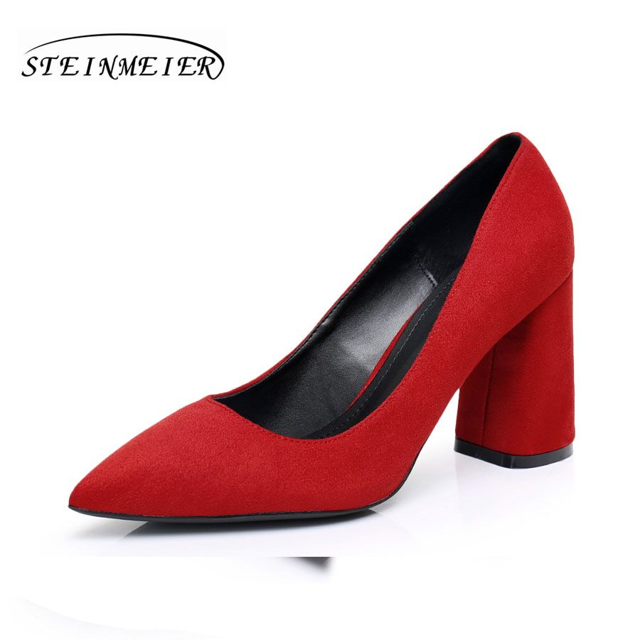 875b2382d Женские туфли на высоком каблуке замша грубая площадь 8.5 см каблуке OL  кеды красные дамские свадебные