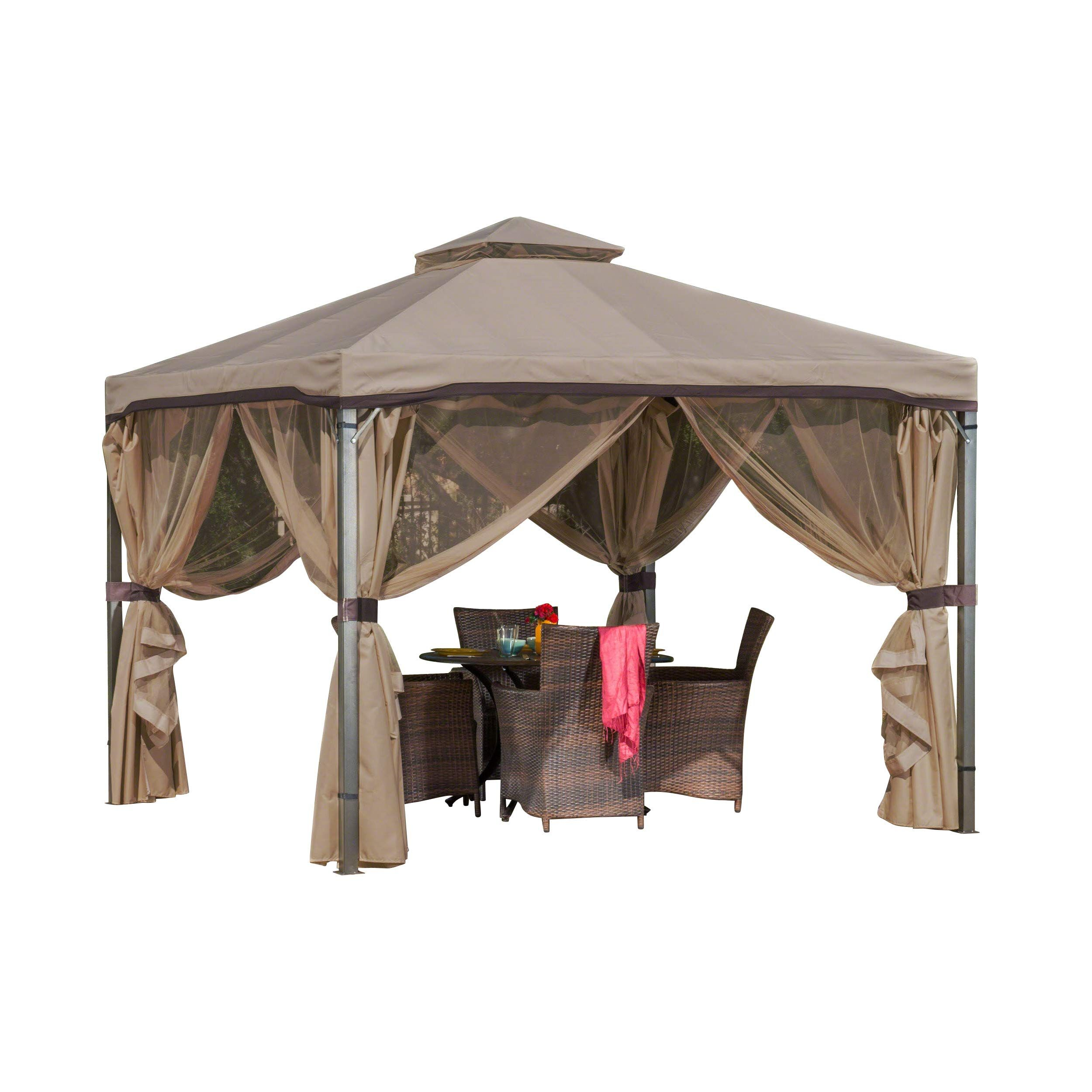 Christopher Knight Home Sonoma Canopy Gazebo 10 X 10 Feet Soft Top Garden Tent With Mosquito Netting And Shade Cur Outdoor Canopy Gazebo Patio Curtains Gazebo