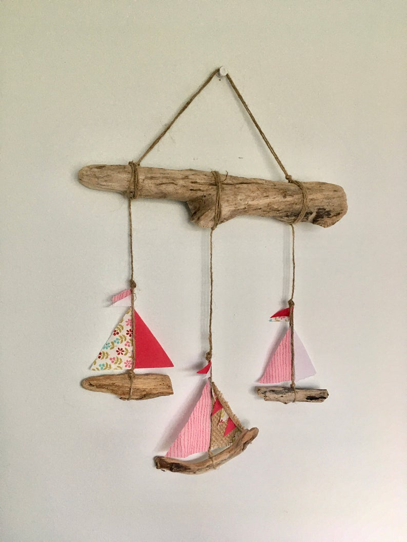 Photo of Driftwood boat mobile ' Mini Pink' Home decor, Nautical, Baby shower gift, New baby gift, Birthday gift, Valentines gift