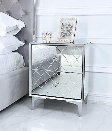 Photo of 2 Drawer Mirror Bedside Table