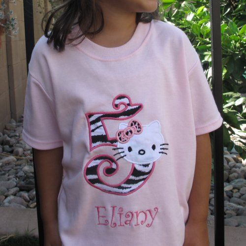 Hello Kitty Appliqued Personalized Birthday Pink Toddler T Shirt