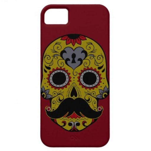 Mustache on Day of the Dead Sugar Skull iPhone 5 Cover