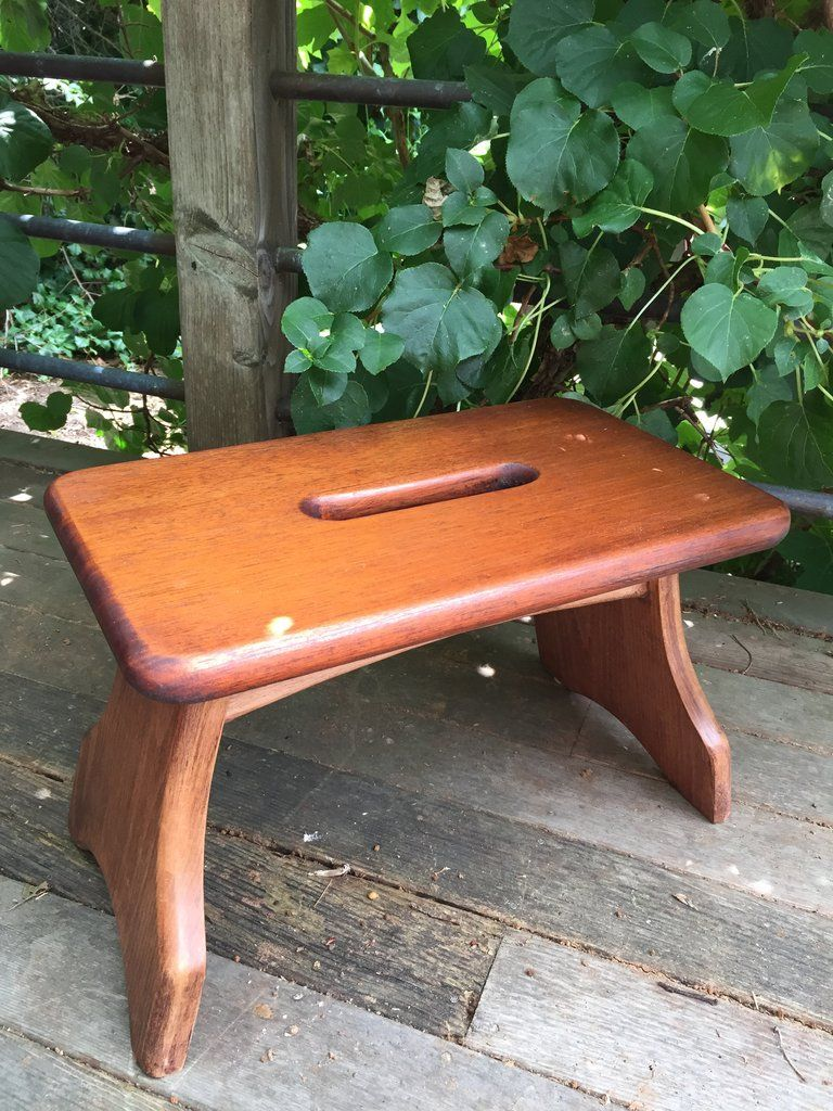 Wooden Step Stool Bedside: This Foot/step Stool With Handle Is An Ideal Addition To