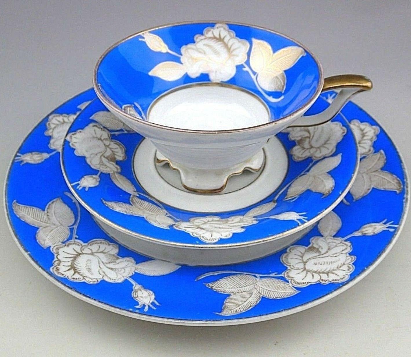Antique Blue Echt Tuppack Tiefenfurt Trio Cup, Saucer