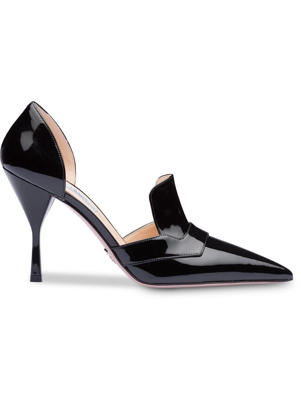 815ca65067741 Prada patent pointed pumps - Black Prada Patent Pointed Pumps - Farfetch  Kitten Heels, Prada