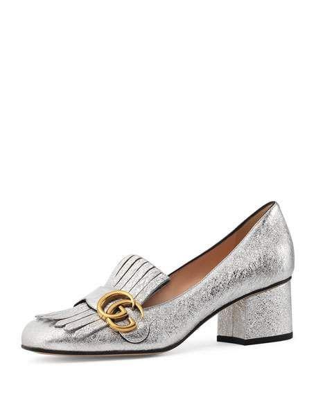 Gucci Marmont Fringe Suede 55mm Loafer, Argento. Gucci ShoesGucci  GucciWomen's ...