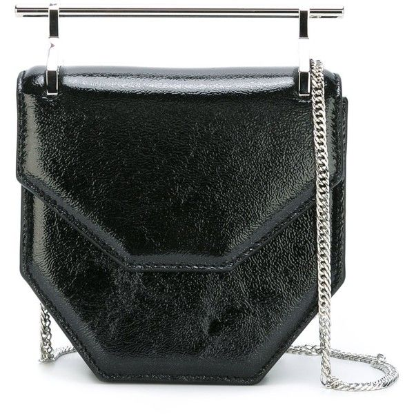M2malletier Galaxy Shoulder Bag (£1,045) ❤ liked on Polyvore featuring bags, handbags, shoulder bags, black, real leather handbags, shoulder bag handbag, genuine leather purse, shoulder handbags and real leather purses