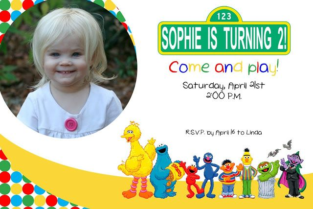 Free Sesame Street Birthday Invitations Templates s Pinterest