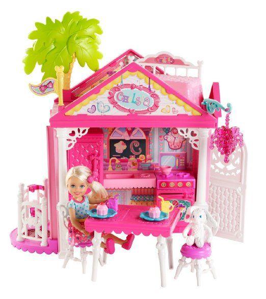 casa di chelsea barbie  Mattel Barbie BDG50 - Set Casetta di Chelsea con bambola e accessori ...