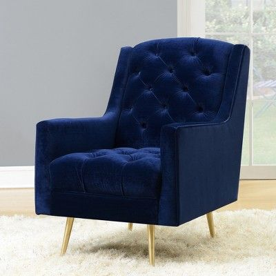 Best Reese Accent Chair With Gold Legs Navy Blue Picket House 400 x 300