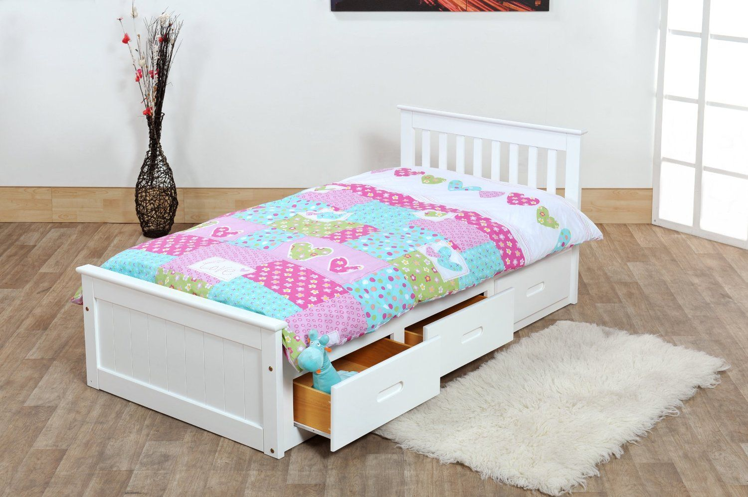 Kids Bed With Drawers 3ft Single Captain Cabin Storage Solid Pine