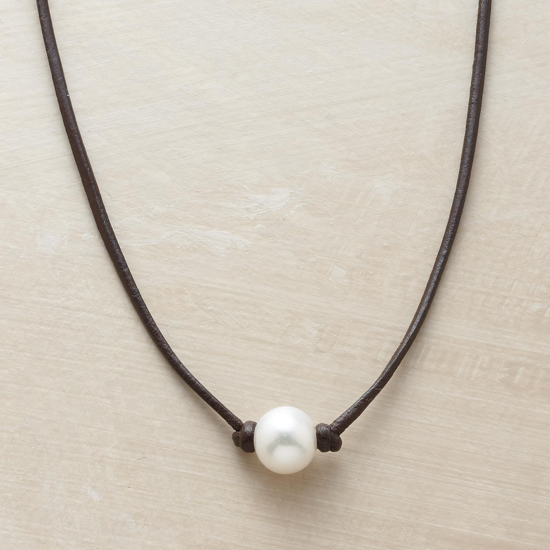 Enchanted Pearl Necklace  Simply Knotted On A Leather Strand, A Cultured  Pearl's Inborn