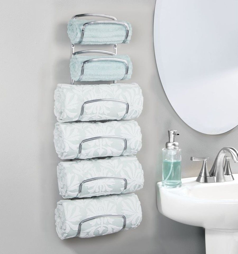 Make The Most Of Unused Wall Space And Gain Vertical Storage With Our 6 Tier Bathroom Towel Hol Towel Holder Bathroom Wall Towel Holders Bathroom Storage Racks