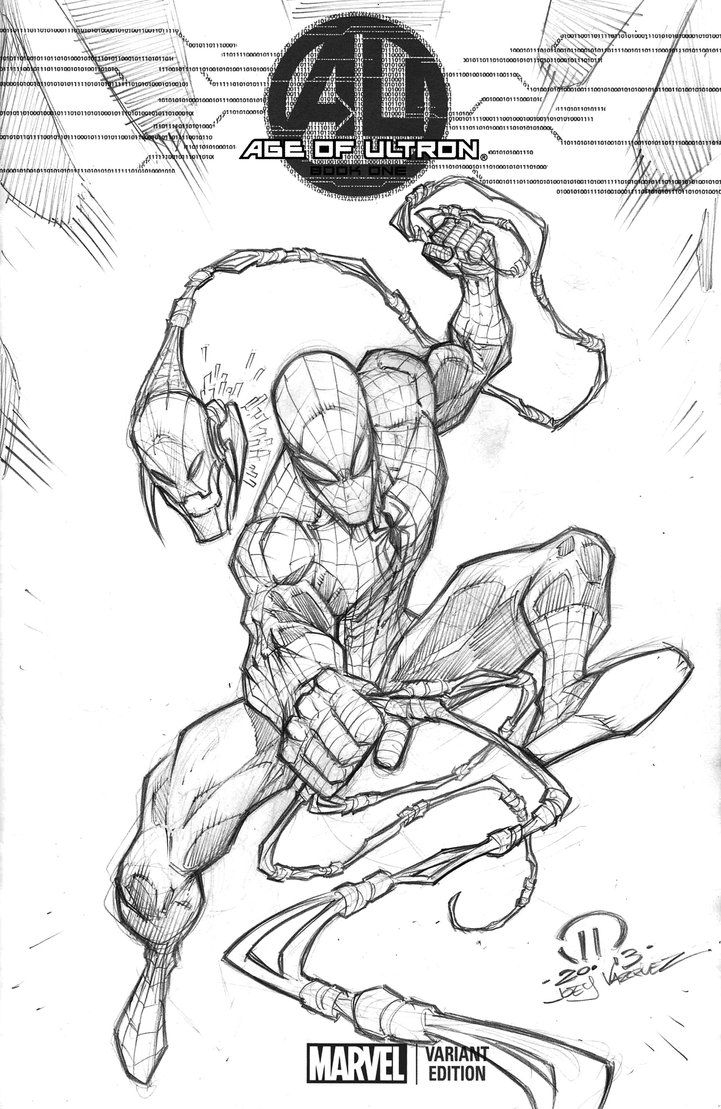 Age of Ultron Spidey sketch cover by JoeyVazquez