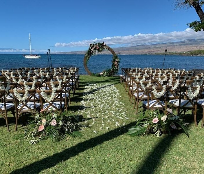 We love it when our couples want to gift their guests with lei, we made these in house with locally grown dendrobium orchids.  Coordination and design @vintageandlaceweddings  Rentals @hawaiiislandevents . . #ceremonyflowers #ceremonydecor #lei #leimaker #hawaiianlei #slowflowers #bigislandgrown #arch #archflowers #weddingarch #weddingflowers #hawaii  #hawaiiflowers #hawaiiflorist #bigisland #bigislandflowers #bigislandflorist #tropical #tropicalnouveau #graceflowershawaii #graceflowershawaiilei